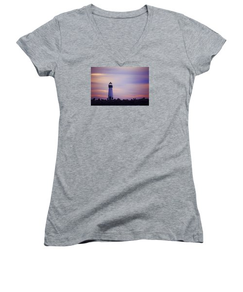 Women's V-Neck T-Shirt (Junior Cut) featuring the photograph Walton Lighthouse by Lora Lee Chapman