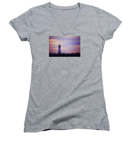 Walton Lighthouse Women's V-Neck T-Shirt (Junior Cut) by Lora Lee Chapman