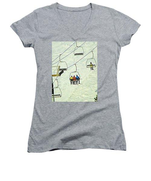 Women's V-Neck T-Shirt (Junior Cut) featuring the photograph Wanna Lift by Wendy McKennon