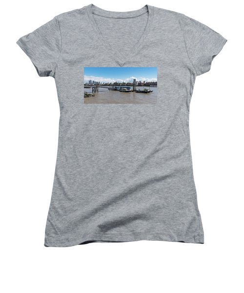 Women's V-Neck T-Shirt featuring the photograph Wapping River Police Waterloo Pier by Gary Eason