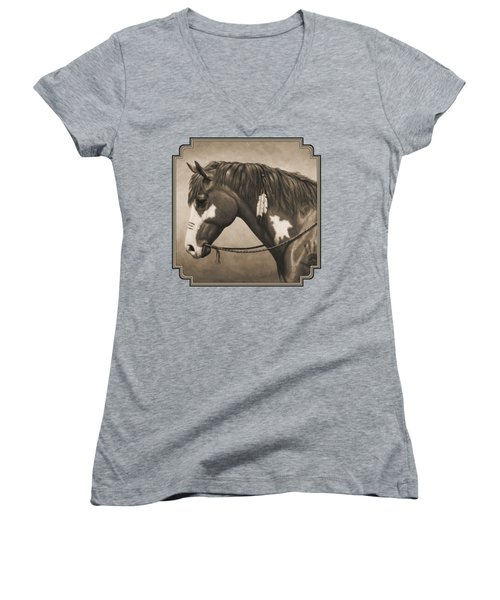 War Horse Aged Photo Fx Women's V-Neck (Athletic Fit)