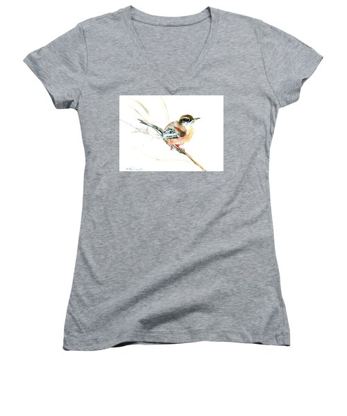 Warbler Songbird Art  Women's V-Neck T-Shirt (Junior Cut) by Suren Nersisyan