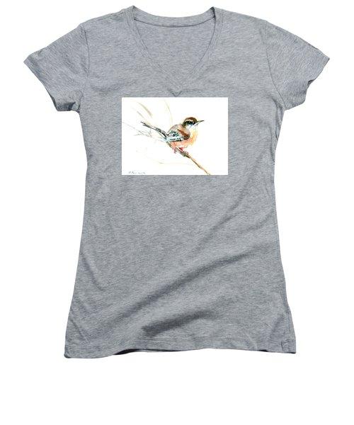 Warbler Songbird Art  Women's V-Neck (Athletic Fit)