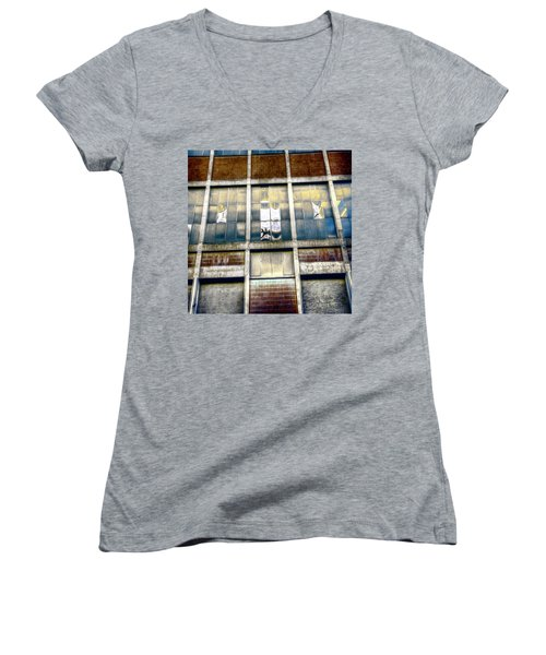 Warehouse Wall Women's V-Neck T-Shirt (Junior Cut) by Wayne Sherriff