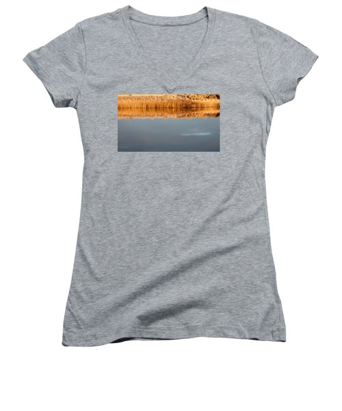 Women's V-Neck T-Shirt (Junior Cut) featuring the photograph Warm Afternoon Glow by Monte Stevens