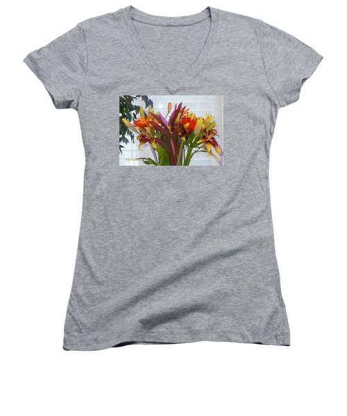 Warm Colored Flowers Women's V-Neck