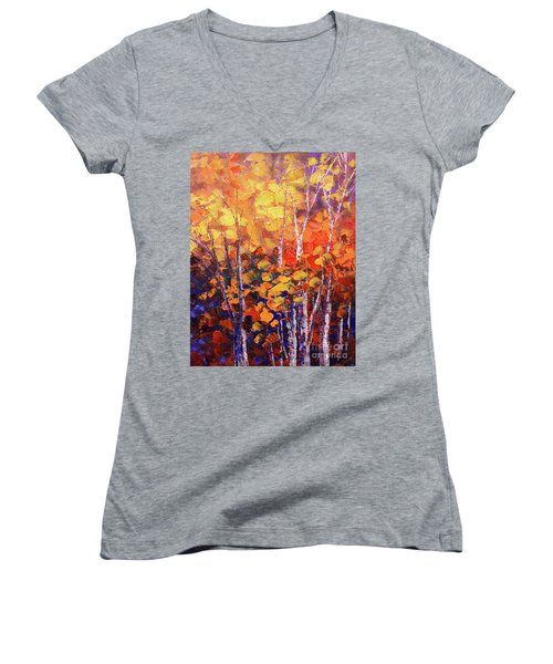 Warm Expressions Women's V-Neck T-Shirt (Junior Cut) by Tatiana Iliina