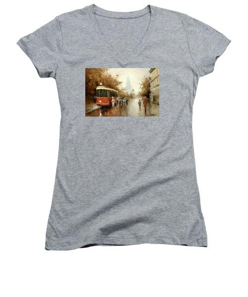 Warm Moscow Autumn Of 1953 Women's V-Neck T-Shirt (Junior Cut) by Igor Medvedev