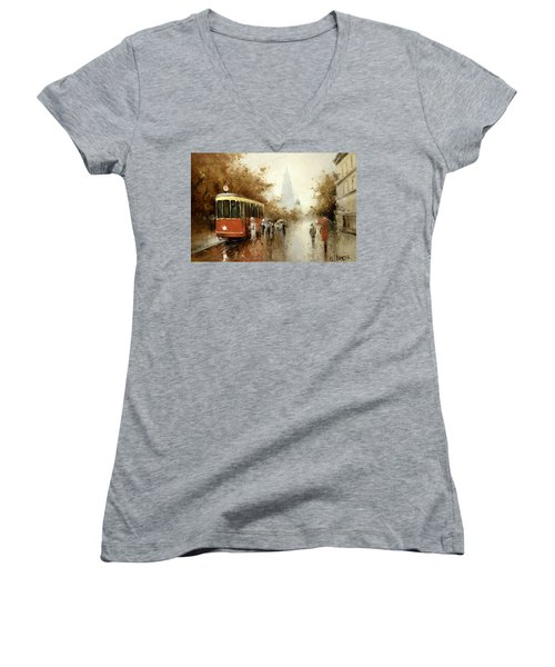 Warm Moscow Autumn Of 1953 Women's V-Neck T-Shirt