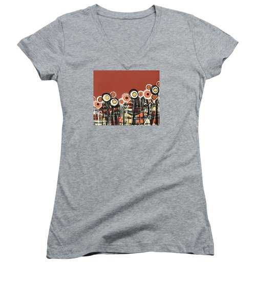 Warm Red Flowers Women's V-Neck (Athletic Fit)