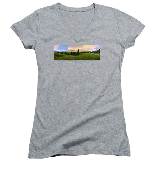 Women's V-Neck T-Shirt (Junior Cut) featuring the photograph Warm The Soul Panorama by Chad Dutson