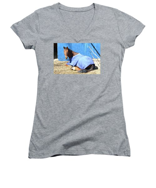 Warm Winter Day At The Horse Barn Women's V-Neck