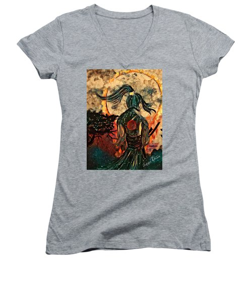 Warrior Moon Women's V-Neck T-Shirt (Junior Cut) by Vennie Kocsis