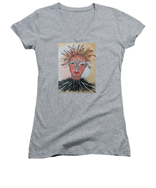 Warrior Woman  #3 Women's V-Neck T-Shirt (Junior Cut) by Sharyn Winters