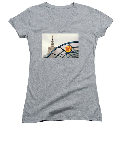 Women's V-Neck T-Shirt (Junior Cut) featuring the photograph Warsaw by Chevy Fleet