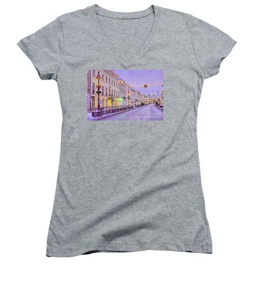 Women's V-Neck T-Shirt (Junior Cut) featuring the photograph Warsaw by Juli Scalzi
