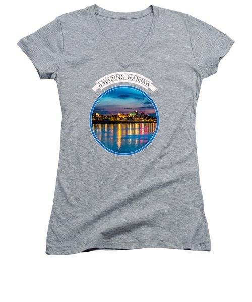 Warsaw Souvenir T-shirt Design 1 Blue Women's V-Neck