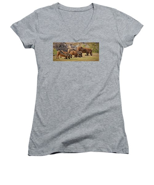 Warthogs Doing Lunch Women's V-Neck T-Shirt (Junior Cut) by Joe Bonita