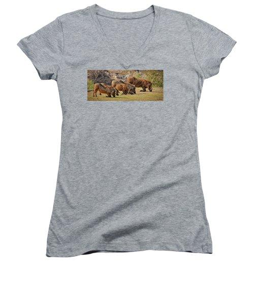 Warthogs Doing Lunch Women's V-Neck T-Shirt