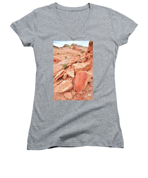 Women's V-Neck T-Shirt (Junior Cut) featuring the photograph Wash 4 Color In Valley Of Fire by Ray Mathis
