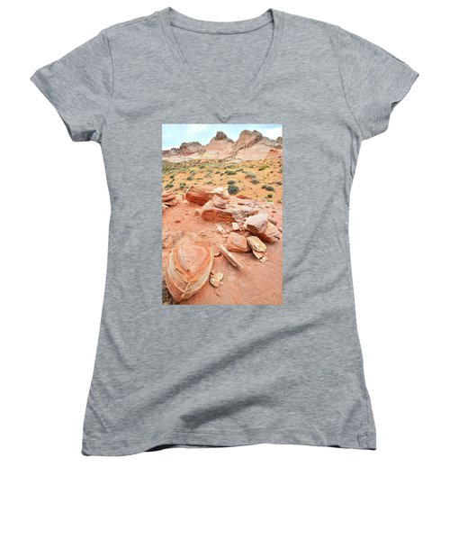 Women's V-Neck T-Shirt (Junior Cut) featuring the photograph Wash 4 In Valley Of Fire by Ray Mathis
