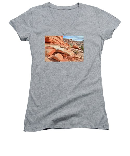 Wash 5 In Valley Of Fire Women's V-Neck T-Shirt