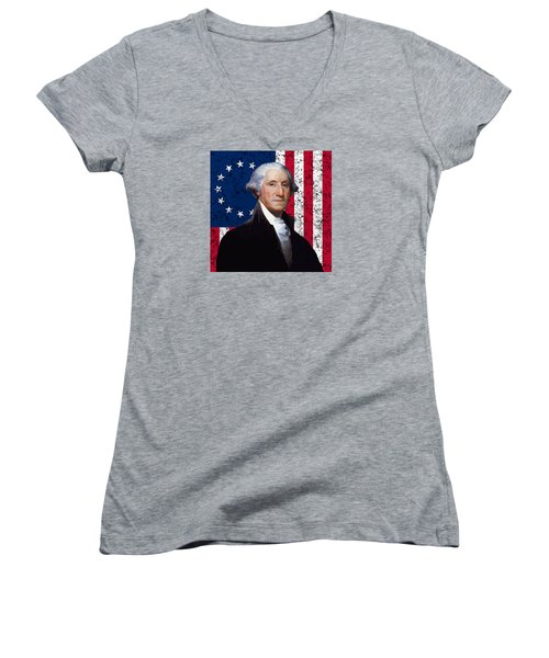 Washington And The American Flag Women's V-Neck (Athletic Fit)