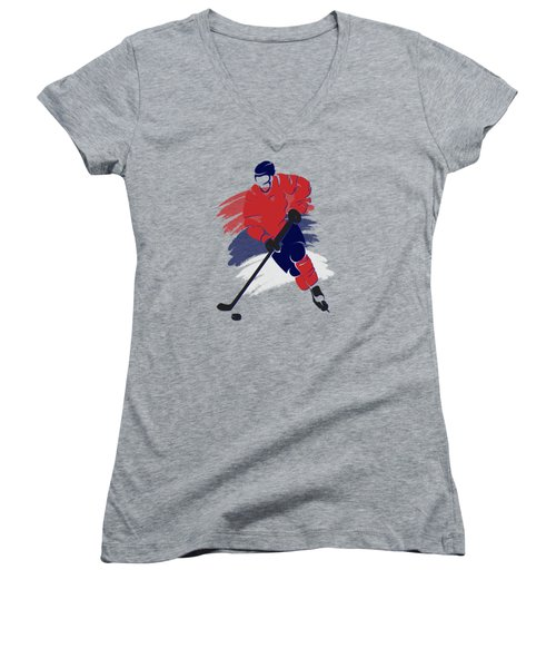 Washington Capitals Player Shirt Women's V-Neck T-Shirt (Junior Cut) by Joe Hamilton