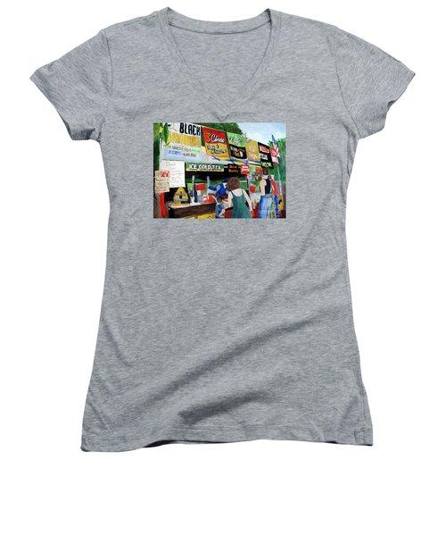 George Washington Carver State Park Women's V-Neck T-Shirt (Junior Cut) by Sandy McIntire