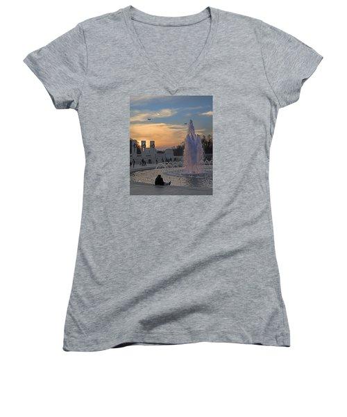 Washington Dc Rhythms  Women's V-Neck T-Shirt (Junior Cut) by Betsy Knapp