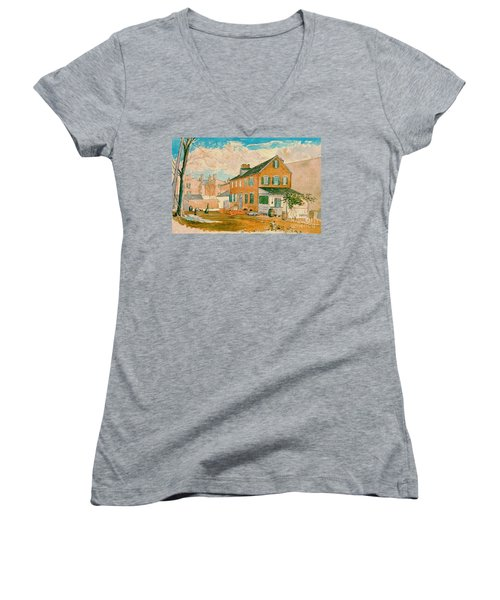 Washington D.c. Square 1874 Women's V-Neck T-Shirt (Junior Cut) by Padre Art