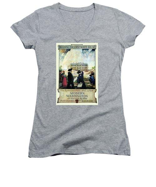 Washington D C Vintage Travel 1932 Women's V-Neck T-Shirt (Junior Cut) by Daniel Hagerman