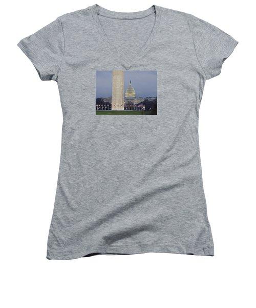 Washington Monument And United States Capitol Buildings - Washington Dc Women's V-Neck T-Shirt (Junior Cut) by Brendan Reals