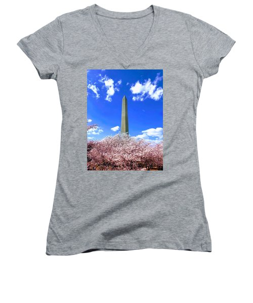 Washington Monument Cherry Blossoms Women's V-Neck