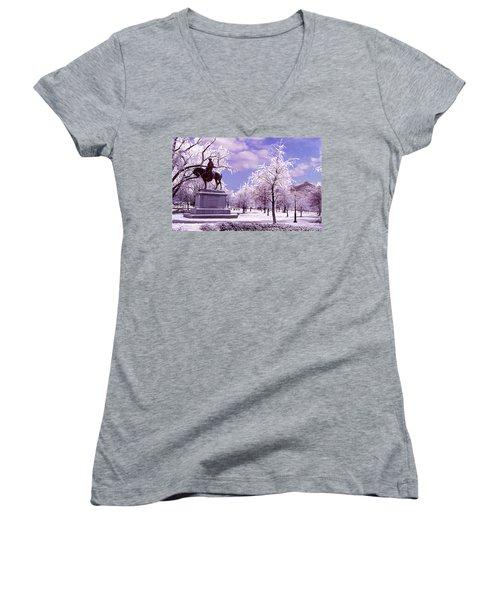 Women's V-Neck T-Shirt (Junior Cut) featuring the photograph Washington Square Park by Steve Karol