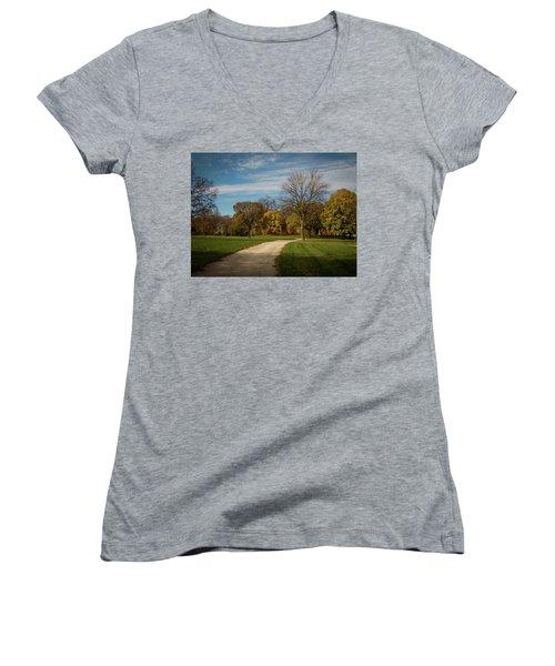 Washington Walkway Women's V-Neck T-Shirt (Junior Cut) by Kimberly Mackowski