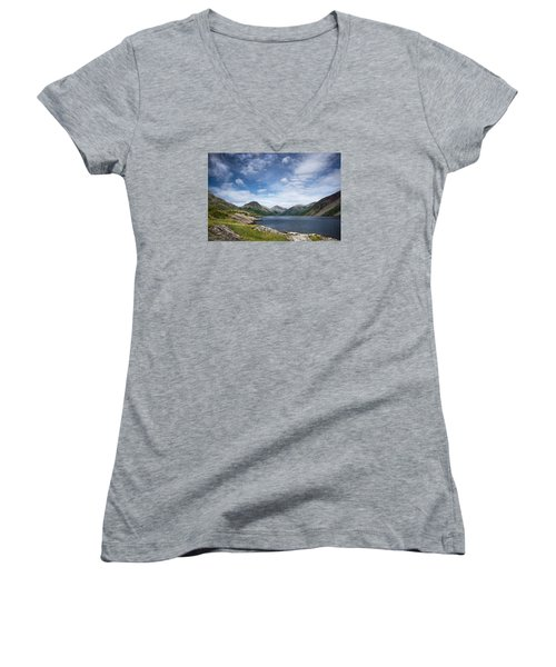 Women's V-Neck T-Shirt (Junior Cut) featuring the photograph Wastwater Morning by Jacqi Elmslie