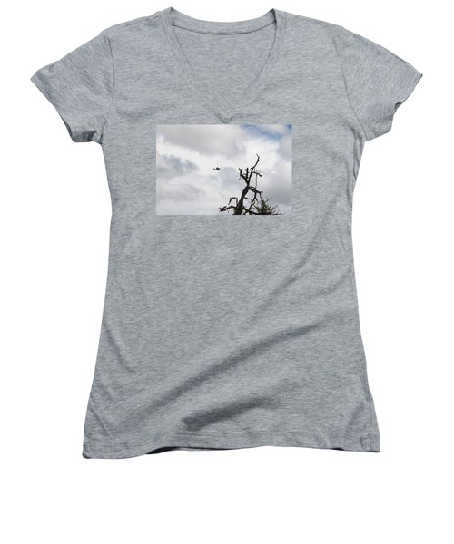 Women's V-Neck T-Shirt (Junior Cut) featuring the photograph Watch Out For That Tree by Marie Neder