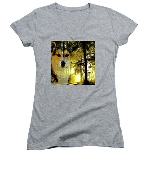Women's V-Neck T-Shirt (Junior Cut) featuring the digital art Watcher Of The Woods by Kathy Kelly