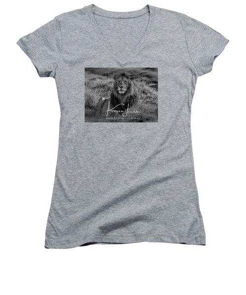 Women's V-Neck T-Shirt (Junior Cut) featuring the photograph Watching And Waiting by Karen Lewis
