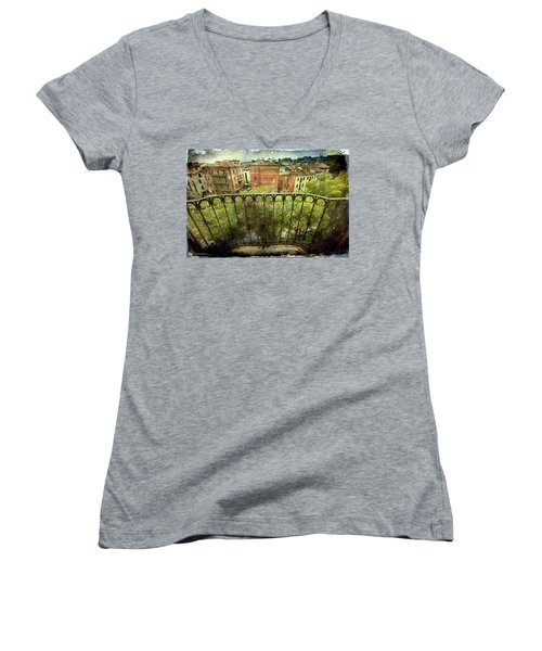 Watching From The Balcony Women's V-Neck T-Shirt (Junior Cut) by Vittorio Chiampan