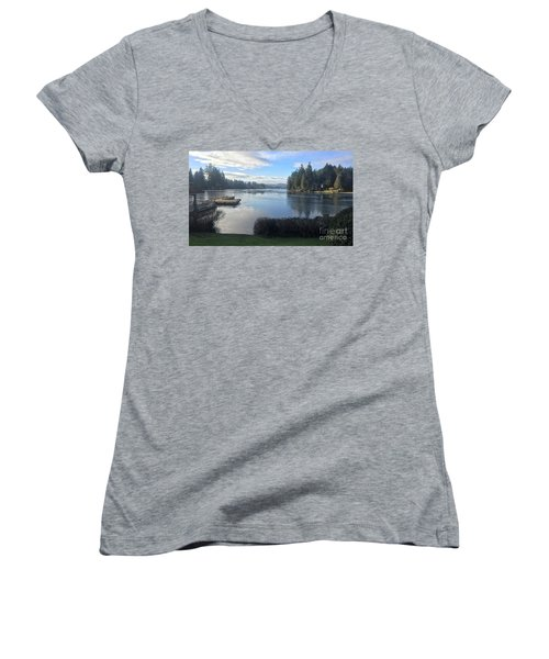 Women's V-Neck T-Shirt (Junior Cut) featuring the photograph Watching The Ice Melt by Victor K