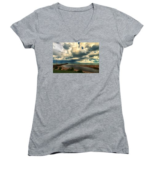 Watching The Storm On Lake Erie Women's V-Neck