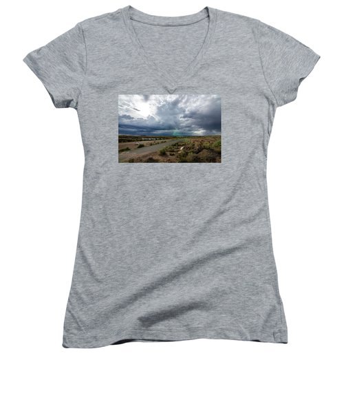 Watching The Storms Roll By Women's V-Neck