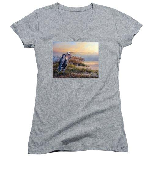 Watching The Sun Go Down Women's V-Neck T-Shirt (Junior Cut) by Brian Tarr