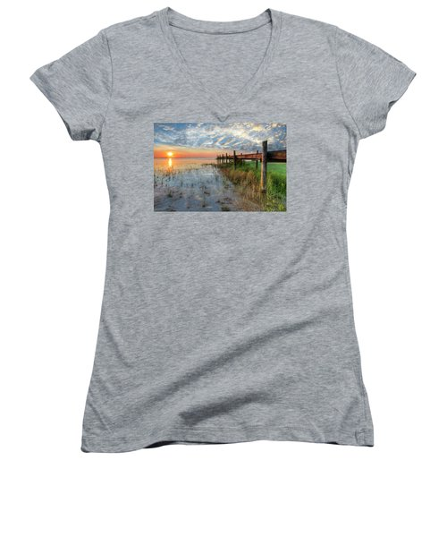 Watching The Sun Rise Women's V-Neck