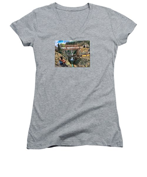 Watching The World Go By Women's V-Neck T-Shirt (Junior Cut) by Michael Cleere