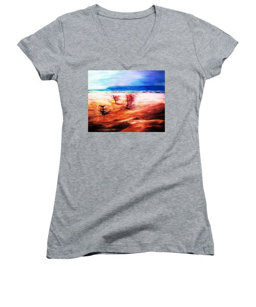 Women's V-Neck T-Shirt (Junior Cut) featuring the painting Water And Earth by Winsome Gunning