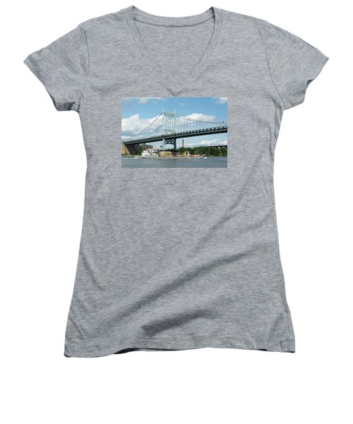 Water And Ship Under The Bridge Women's V-Neck