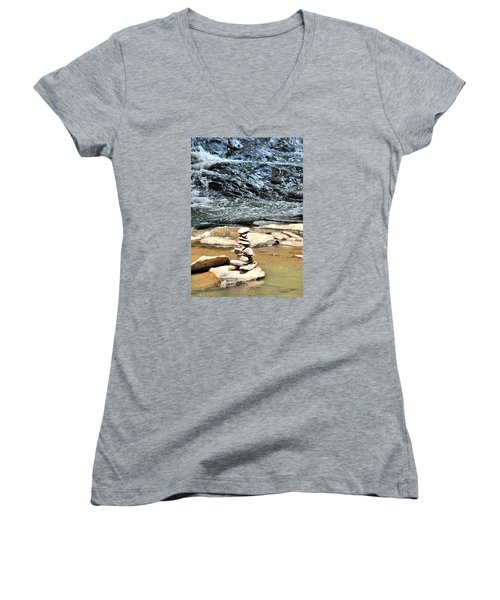 Water And Stone Women's V-Neck T-Shirt (Junior Cut) by James Potts